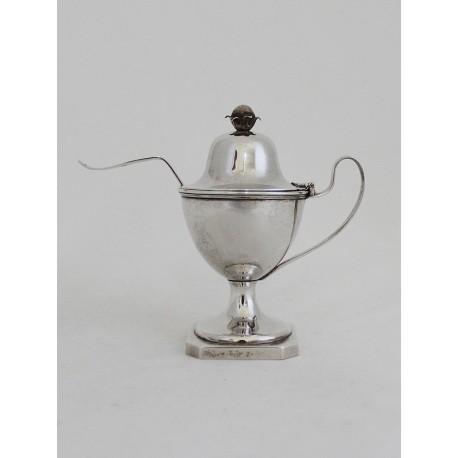 Klassizistische Silber Zuckerschale mit Löffel